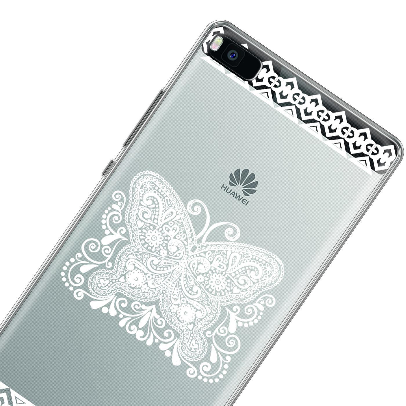 Huawei P8 Handy Schutz Hülle Case TPU Silikon Cover Tasche Mandala Etui Muster