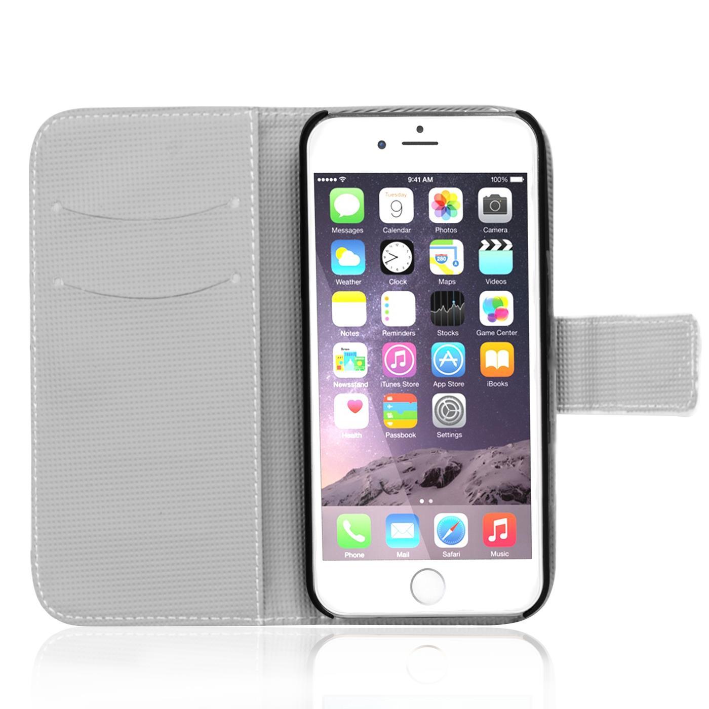 Handy-Huelle-Apple-iPhone-8-Plus-Flip-Cover-Case-Schutz-Tasche-Etui-Motiv-Wallet Indexbild 7