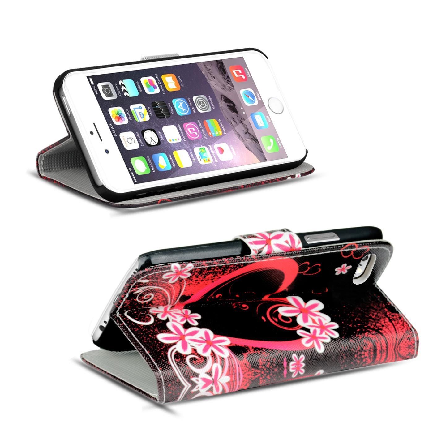 Handy-Huelle-Apple-iPhone-8-Plus-Flip-Cover-Case-Schutz-Tasche-Etui-Motiv-Wallet Indexbild 33