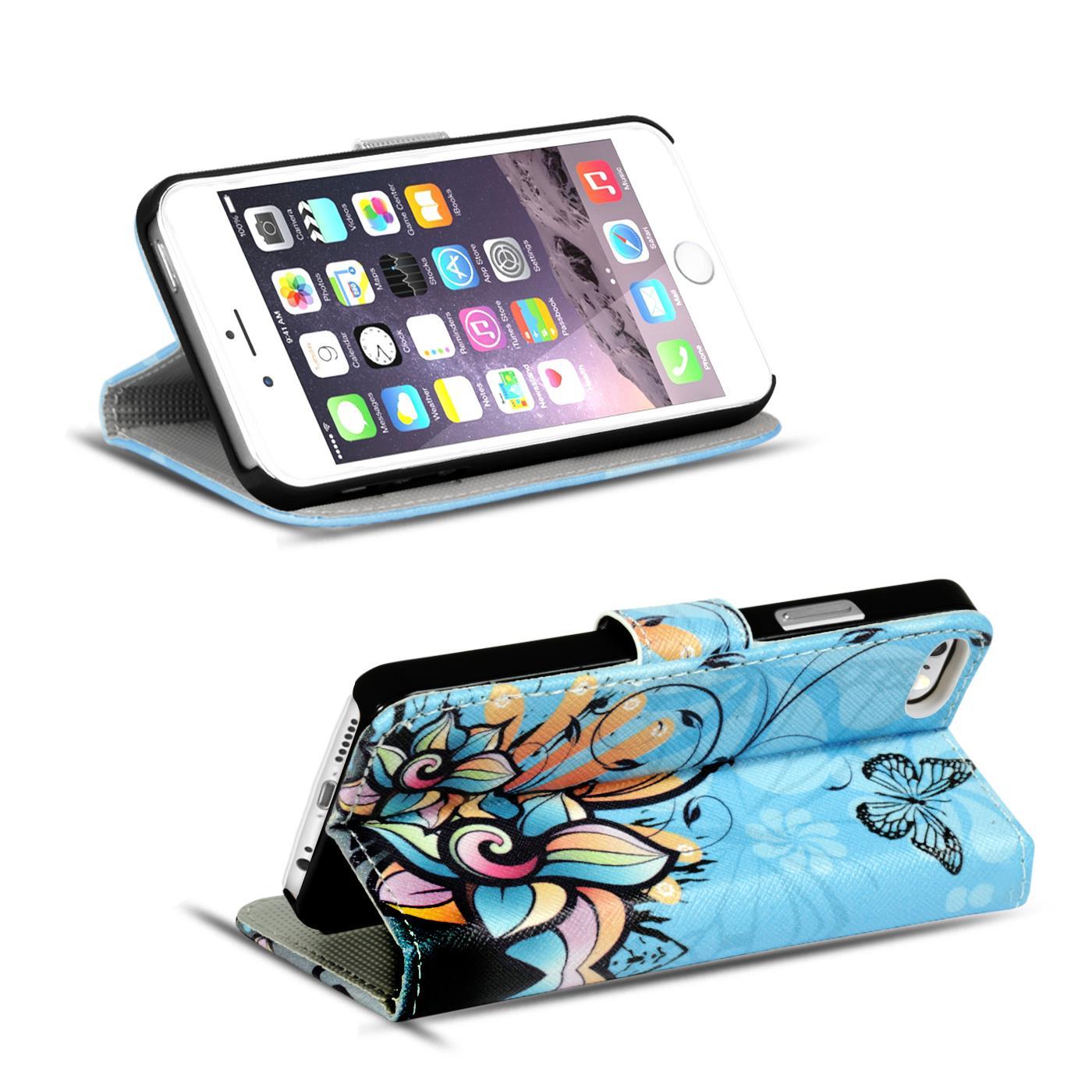 Handy-Huelle-Apple-iPhone-8-Plus-Flip-Cover-Case-Schutz-Tasche-Etui-Motiv-Wallet Indexbild 36