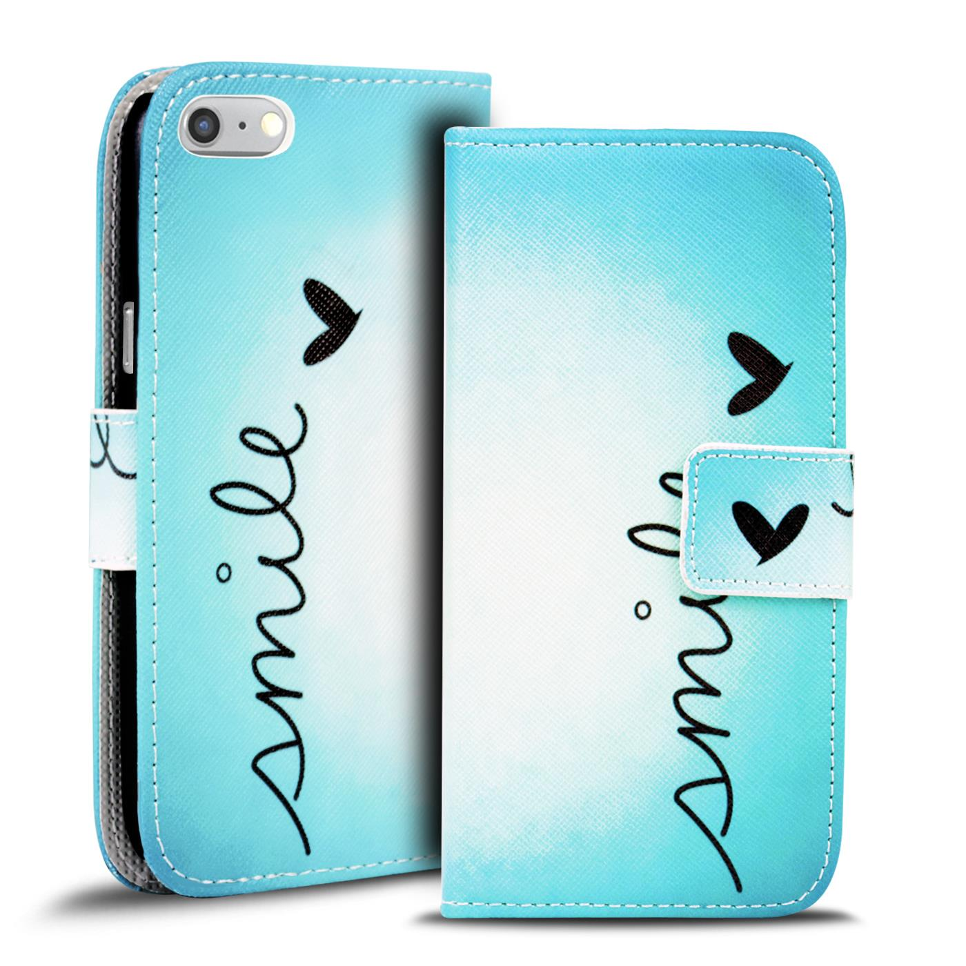 Handy-Huelle-Apple-iPhone-8-Plus-Flip-Cover-Case-Schutz-Tasche-Etui-Motiv-Wallet Indexbild 38