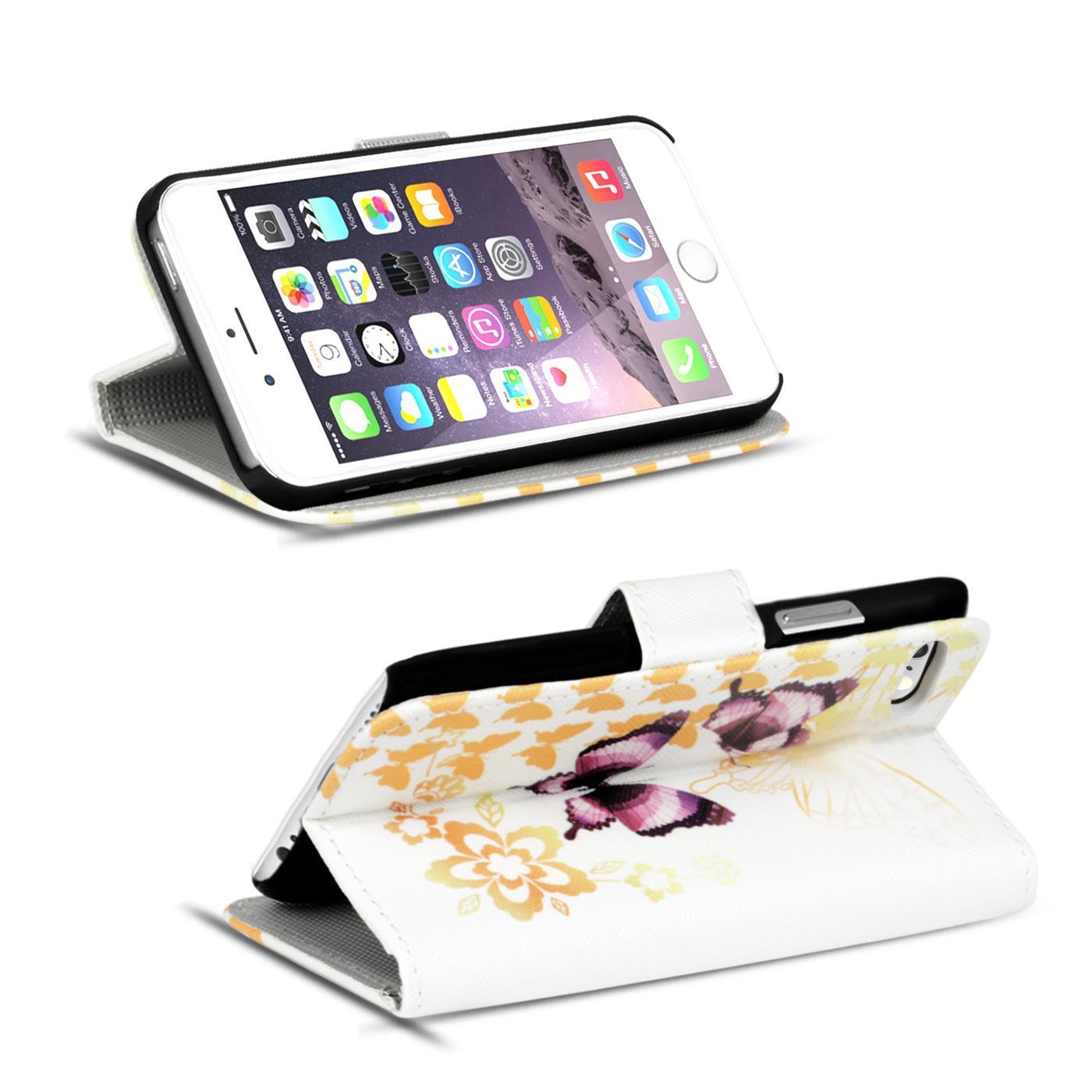 Handy-Huelle-Apple-iPhone-8-Plus-Flip-Cover-Case-Schutz-Tasche-Etui-Motiv-Wallet Indexbild 42