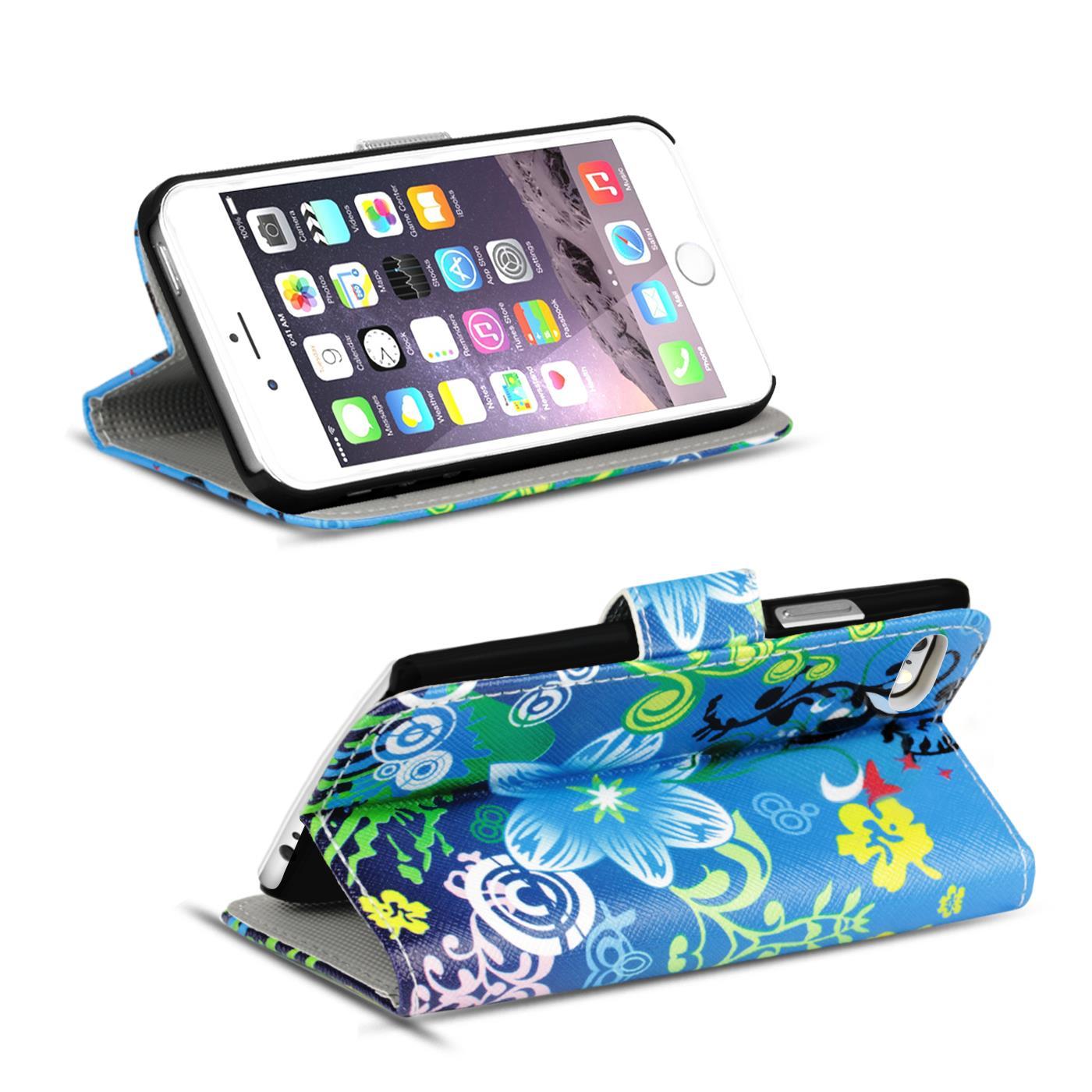 Handy-Huelle-Apple-iPhone-8-Plus-Flip-Cover-Case-Schutz-Tasche-Etui-Motiv-Wallet Indexbild 45