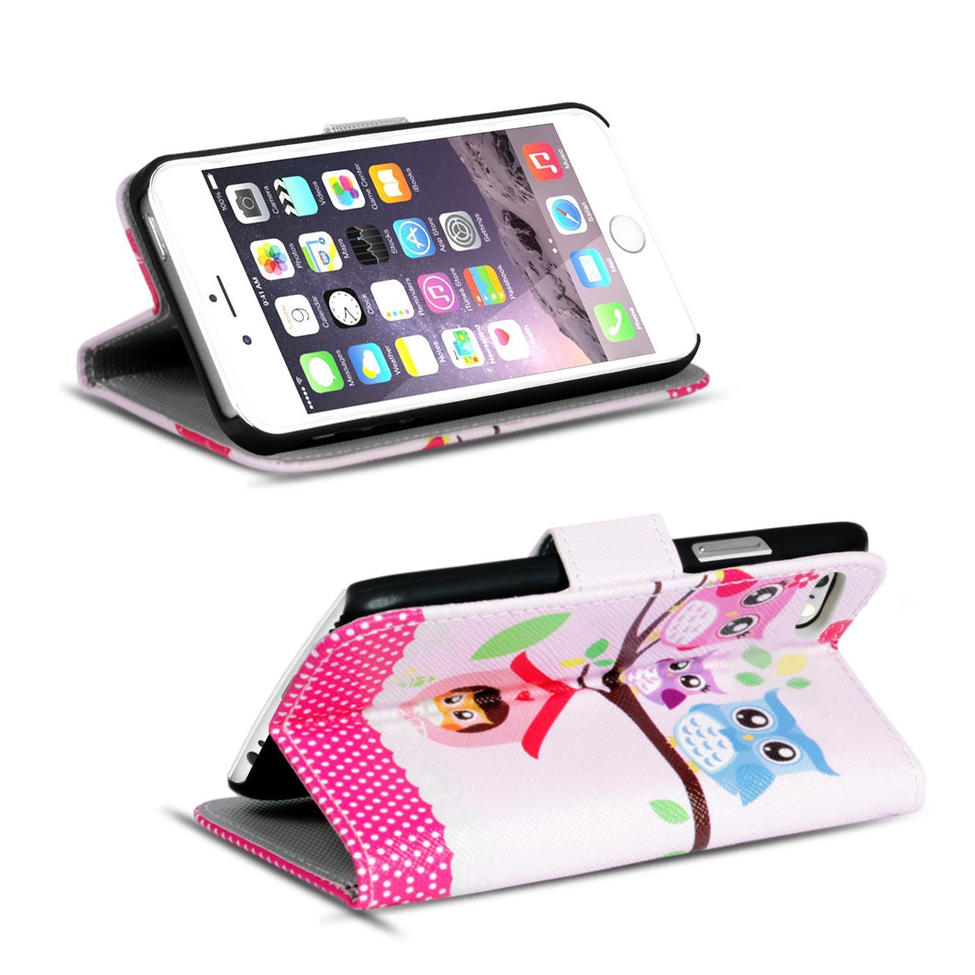 Handy-Huelle-Apple-iPhone-8-Plus-Flip-Cover-Case-Schutz-Tasche-Etui-Motiv-Wallet Indexbild 48