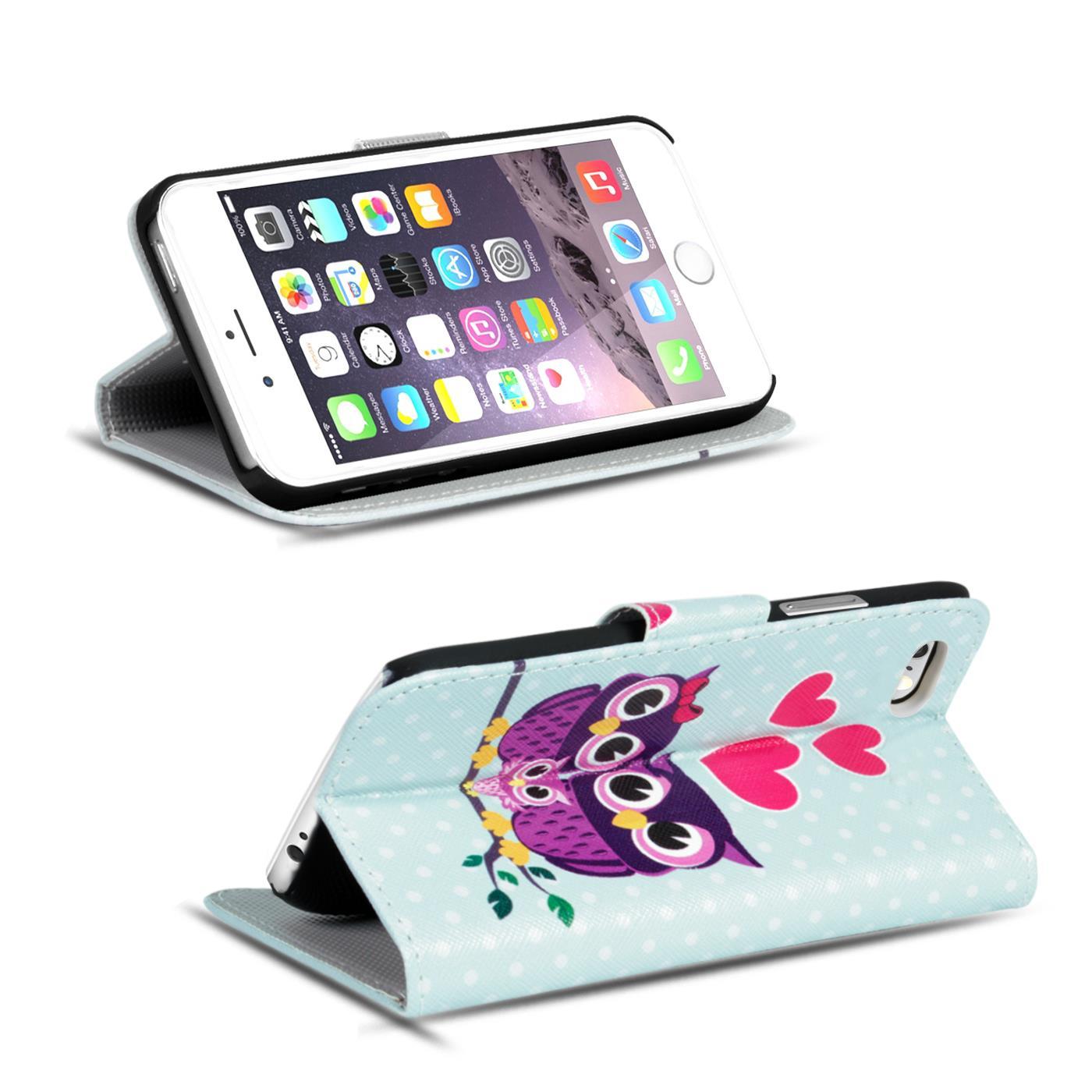 Handy-Huelle-Apple-iPhone-8-Plus-Flip-Cover-Case-Schutz-Tasche-Etui-Motiv-Wallet Indexbild 51