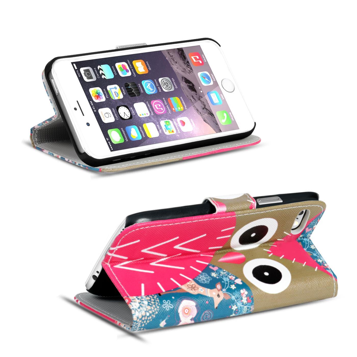 Handy-Huelle-Apple-iPhone-8-Plus-Flip-Cover-Case-Schutz-Tasche-Etui-Motiv-Wallet Indexbild 54