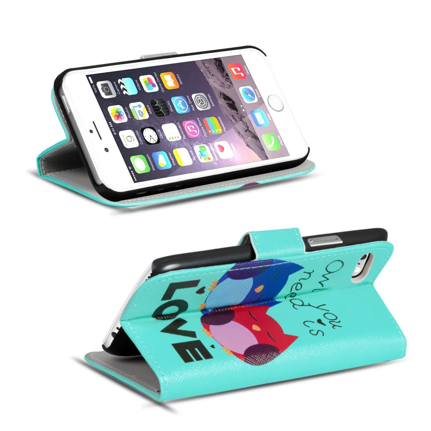 Handy-Huelle-Apple-iPhone-8-Plus-Flip-Cover-Case-Schutz-Tasche-Etui-Motiv-Wallet Indexbild 57