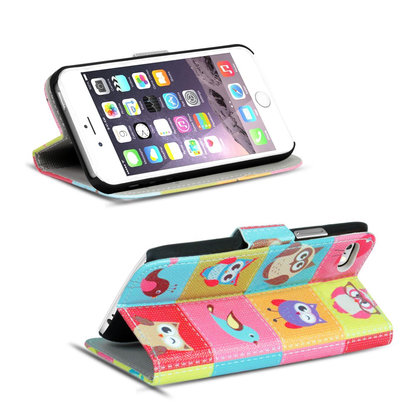 Handy-Huelle-Apple-iPhone-8-Plus-Flip-Cover-Case-Schutz-Tasche-Etui-Motiv-Wallet Indexbild 60