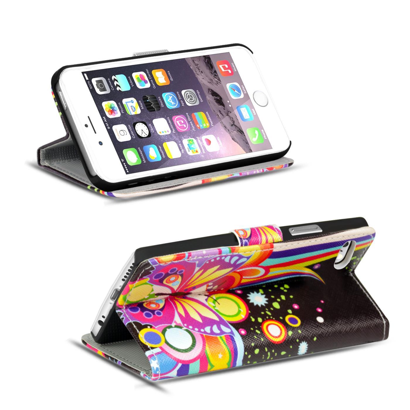 Handy-Huelle-Apple-iPhone-8-Plus-Flip-Cover-Case-Schutz-Tasche-Etui-Motiv-Wallet Indexbild 6