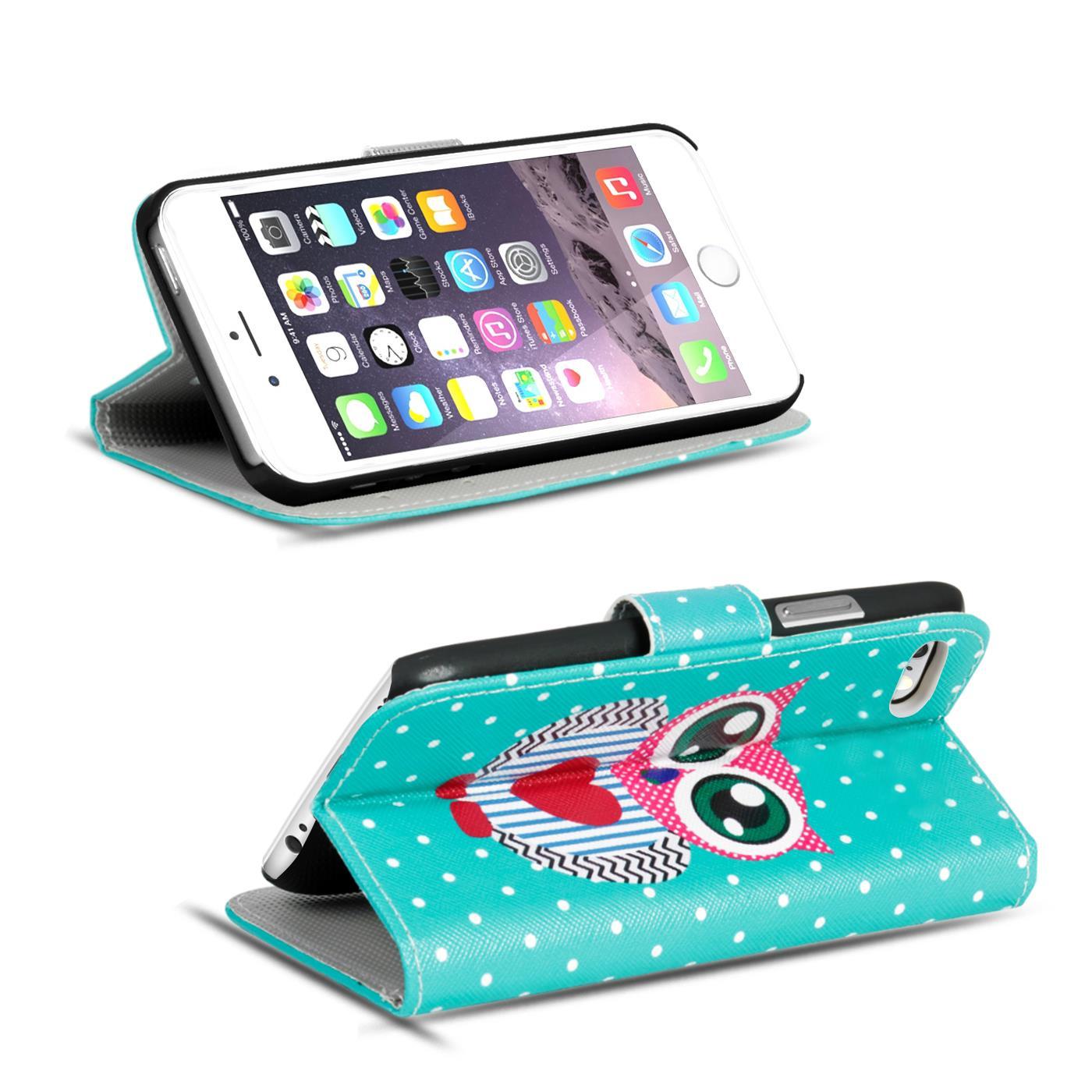 Handy-Huelle-Apple-iPhone-8-Plus-Flip-Cover-Case-Schutz-Tasche-Etui-Motiv-Wallet Indexbild 63