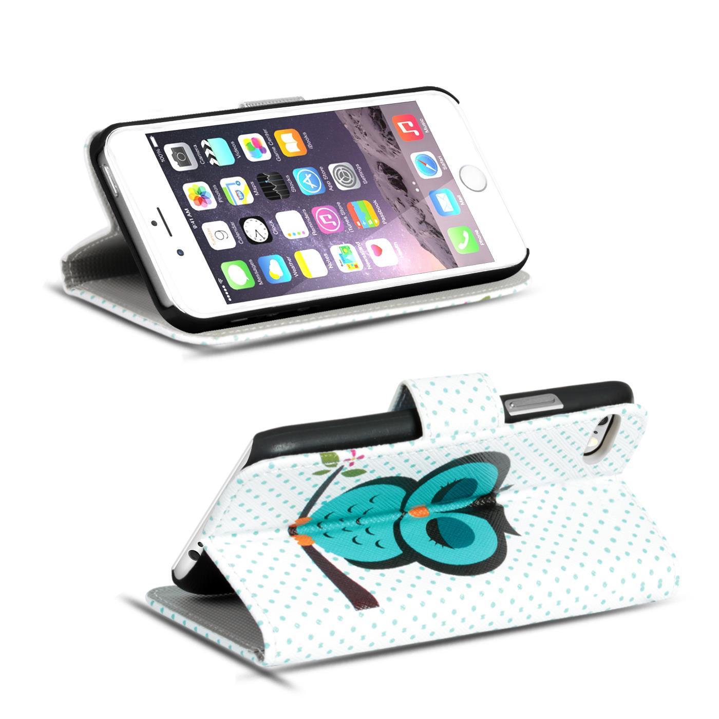 Handy-Huelle-Apple-iPhone-8-Plus-Flip-Cover-Case-Schutz-Tasche-Etui-Motiv-Wallet Indexbild 66