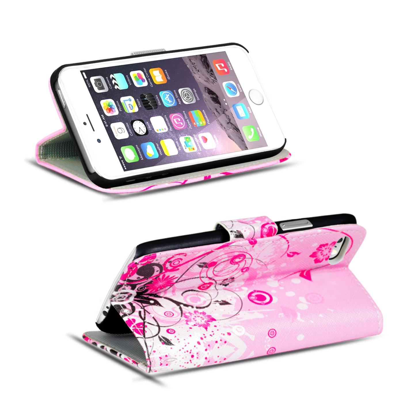Handy-Huelle-Apple-iPhone-8-Plus-Flip-Cover-Case-Schutz-Tasche-Etui-Motiv-Wallet Indexbild 9