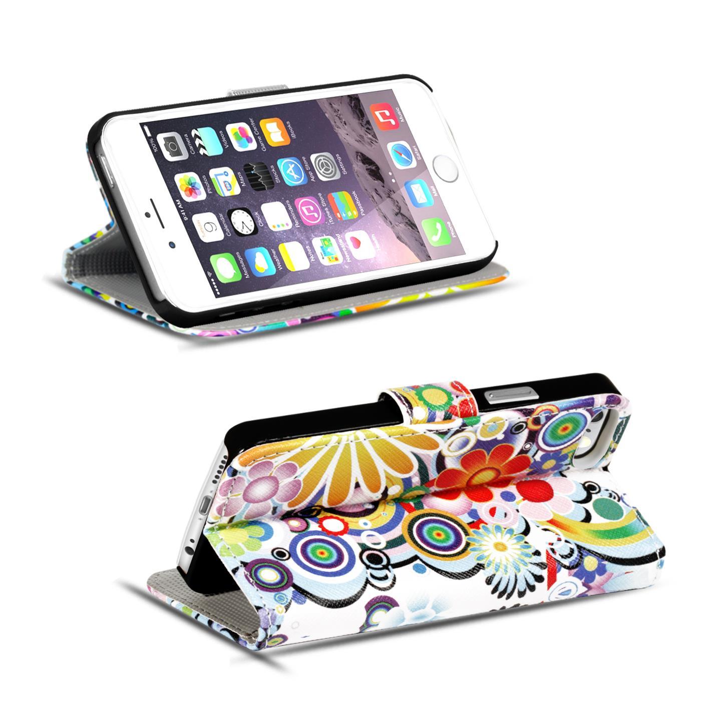 Handy-Huelle-Apple-iPhone-8-Plus-Flip-Cover-Case-Schutz-Tasche-Etui-Motiv-Wallet Indexbild 12