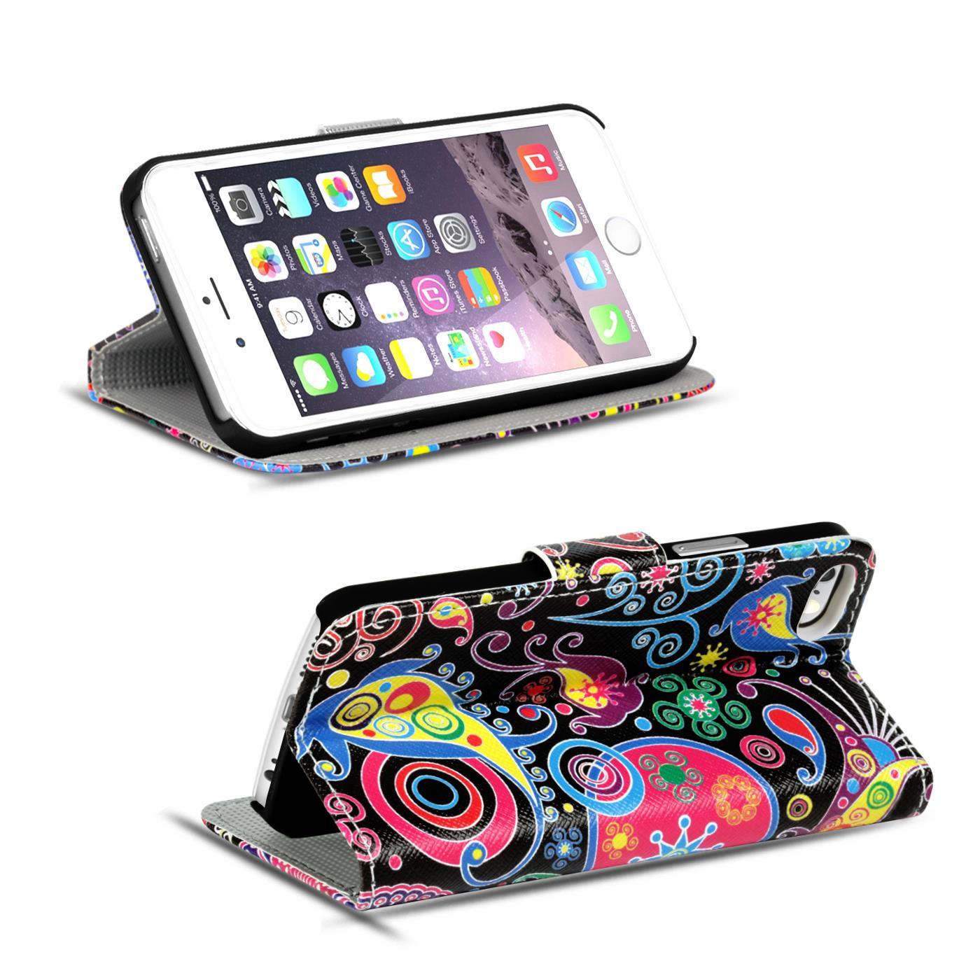 Handy-Huelle-Apple-iPhone-8-Plus-Flip-Cover-Case-Schutz-Tasche-Etui-Motiv-Wallet Indexbild 15