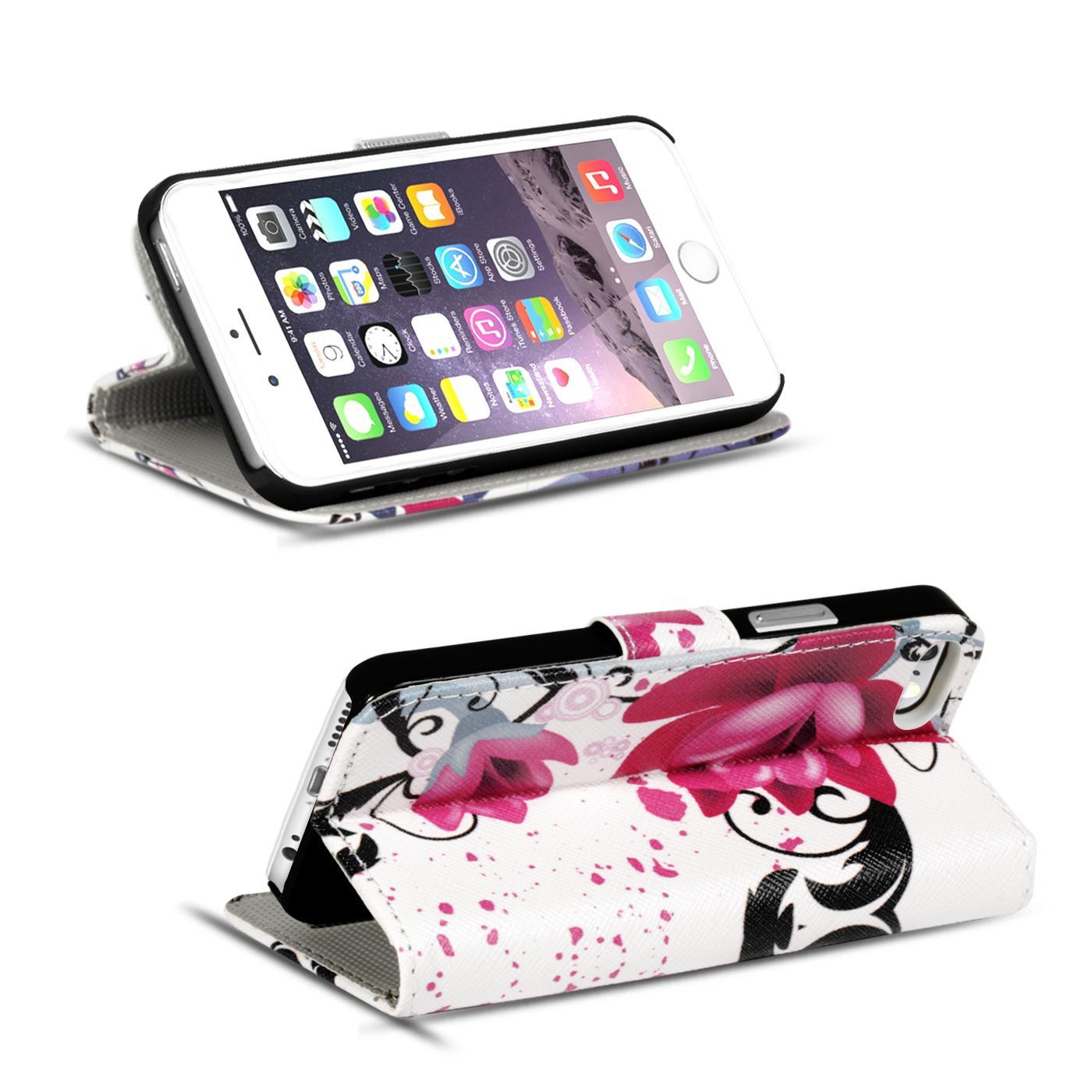 Handy-Huelle-Apple-iPhone-8-Plus-Flip-Cover-Case-Schutz-Tasche-Etui-Motiv-Wallet Indexbild 21