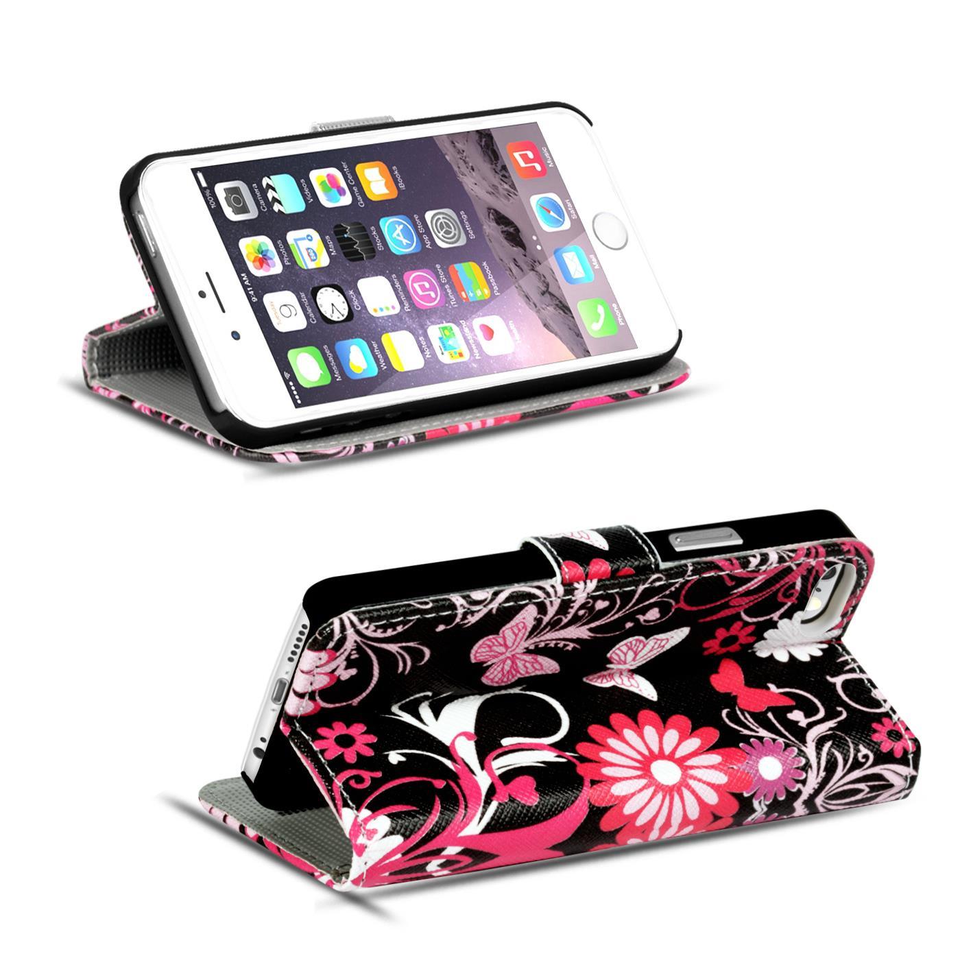 Handy-Huelle-Apple-iPhone-8-Plus-Flip-Cover-Case-Schutz-Tasche-Etui-Motiv-Wallet Indexbild 24