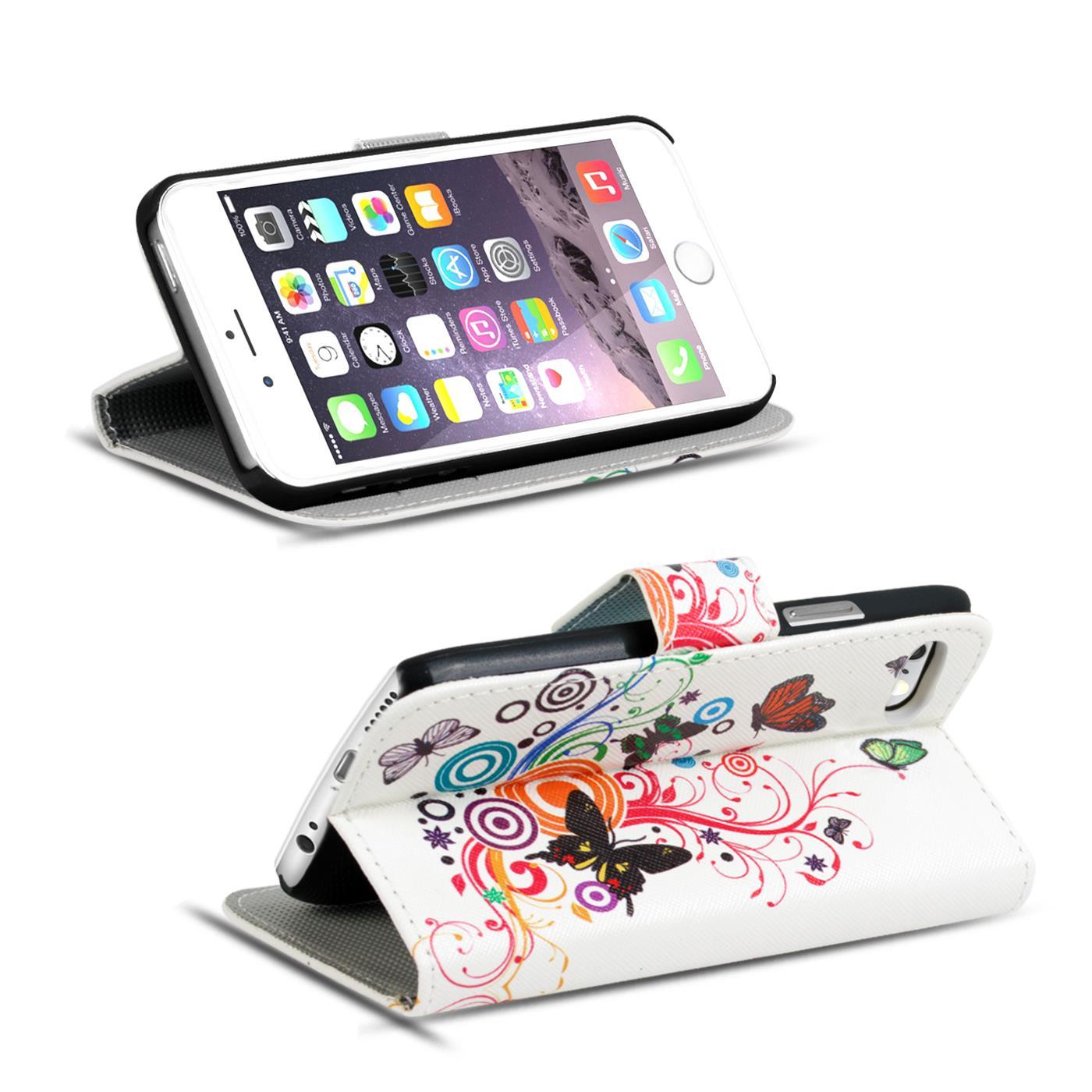 Handy-Huelle-Apple-iPhone-8-Plus-Flip-Cover-Case-Schutz-Tasche-Etui-Motiv-Wallet Indexbild 27