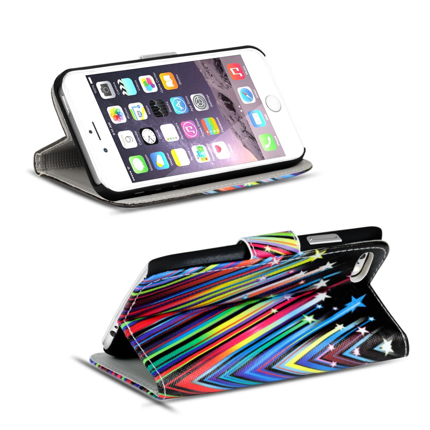 Handy-Huelle-Apple-iPhone-8-Plus-Flip-Cover-Case-Schutz-Tasche-Etui-Motiv-Wallet Indexbild 30